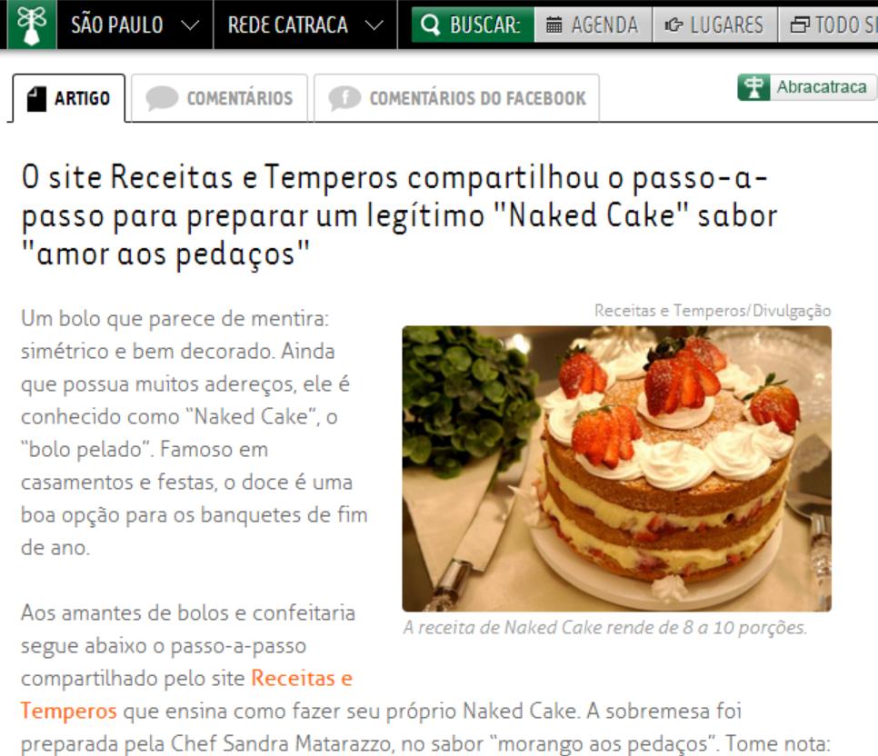 Vejam nosso Naked Cake no Catraca Livre