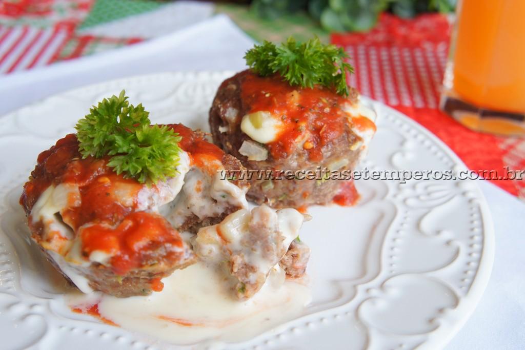 Muffin de carne com catupiry