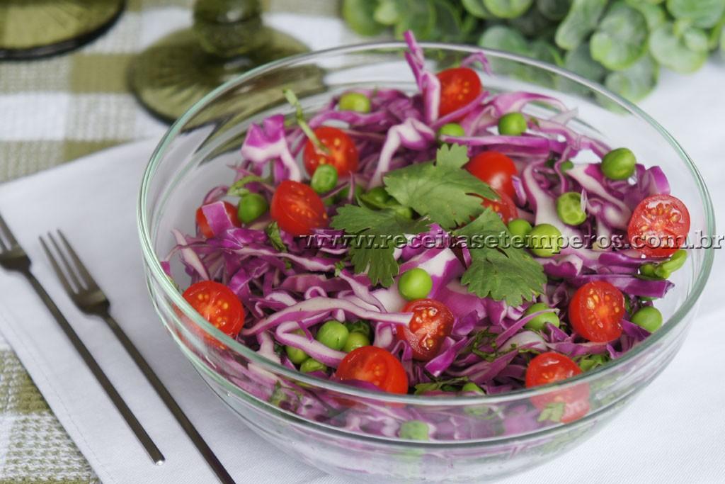 Salada de repolho roxo com coentro
