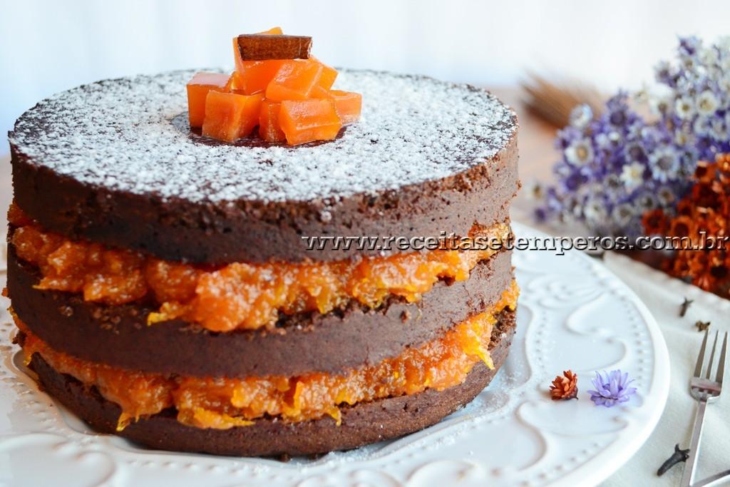 Resultado de imagem para bolo de chocolate com doce de abobora