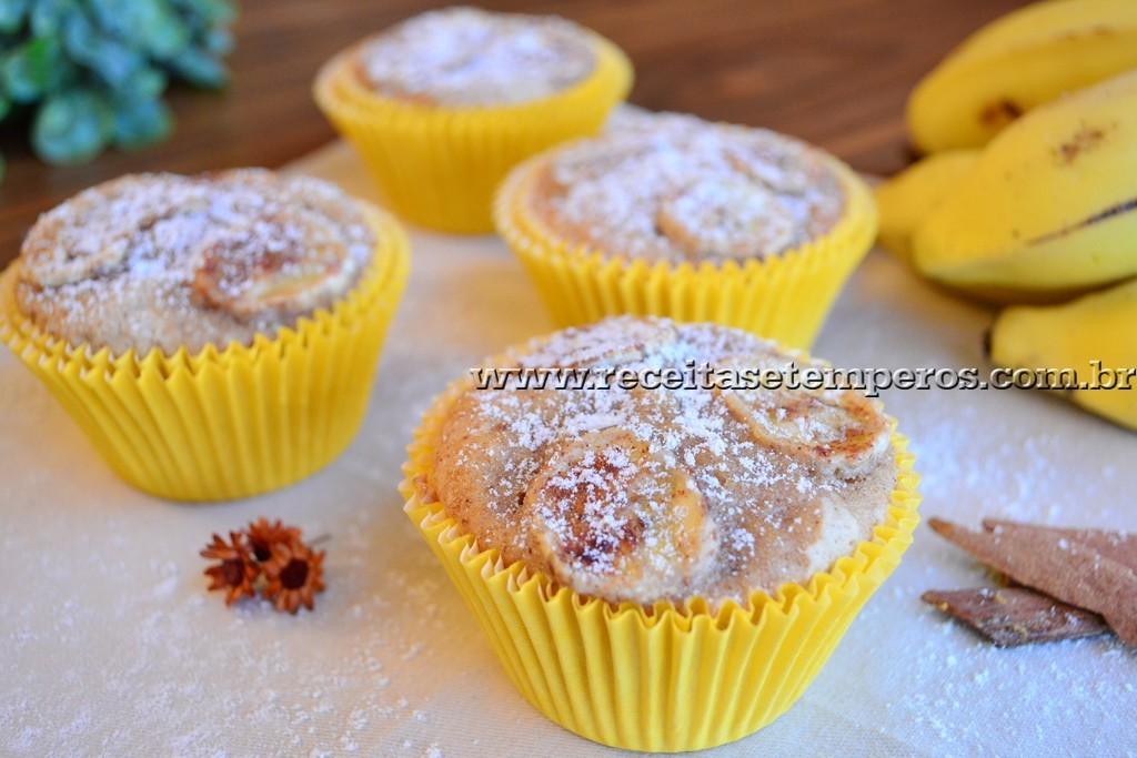 Muffin de banana com canela