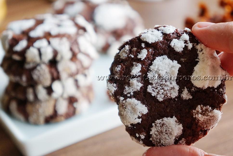 Cookies craquelados de chocolate